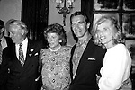 Arnold Schwarzenegger with Pat Kennedy Lawford and his in laws Sargent Shriver and Eunice Shriver New York City..