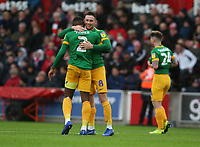 Preston North End's Alan Browne celebrates scoring the opening goal with team-mate Darnell Fisher<br /> <br /> Photographer Stephen White/CameraSport<br /> <br /> The EFL Sky Bet Championship - Stoke City v Preston North End - Saturday 26th January 2019 - bet365 Stadium - Stoke-on-Trent<br /> <br /> World Copyright © 2019 CameraSport. All rights reserved. 43 Linden Ave. Countesthorpe. Leicester. England. LE8 5PG - Tel: +44 (0) 116 277 4147 - admin@camerasport.com - www.camerasport.com
