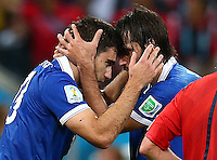 Sokratis Papastathopoulos of Greece celebrates scoring his goal to make the score 1-1 with Georgios Samaras