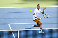 Washington, DC - August 4, 2019: Nick Kyrgios (AUS) charges the net to return ball from Daniil Medvedev (RUS) NOT PICTURED during the Men's finals of the Citi Open at the Rock Creek Tennis Center, in Washington D.C. (Photo by Philip Peters/Media Images International)