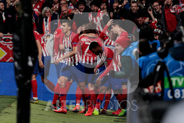 Atletico de Madrid's players celebrate goal during UEFA Champions League match, Round of 16, 1st leg between Atletico de Madrid and Juventus at Wanda Metropolitano Stadium in Madrid, Spain. February 20, 2019. (ALTERPHOTOS/A. Perez Meca)