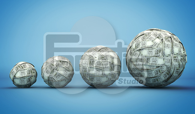 Illustrative image of Indian currency balls representing growth