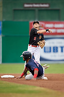 Batavia Muckdogs second baseman Luke Jarvis (8) turns a double play as Trey Ganns (28) slides in during a game against the Lowell Spinners on July 14, 2018 at Dwyer Stadium in Batavia, New York.  Lowell defeated Batavia 8-4.  (Mike Janes/Four Seam Images)