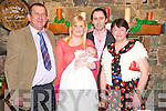 Ella Mai Cronin O'Connor, Killorglin, pictured with her parents Christina and James, Killorglin, and her godparents Dermot and Eileen Cronin, at her christening celebrations in Beaufort Bar on Sunday.........