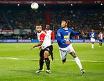 Nederland, Rotterdam, 30 oktober 2013<br /> KNVB Beker<br /> Seizoen 2013-2014<br /> Feyenoord-HSV Hoek<br /> Samuel Armenteros (l.) van Feyenoord en  Lionel Fitsch (r.) van HSV Hoek.
