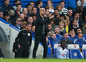 30th September 2017, Stamford Bridge, London, England; EPL Premier League football, Chelsea versus Manchester City; Manchester City manager Josep Guardiola shouting at his players from the touchline