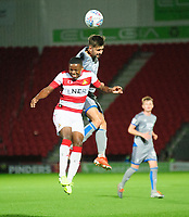 Lincoln City's Ellis Chapman battles with Doncaster Rovers' Niall Ennis<br /> <br /> Photographer Andrew Vaughan/CameraSport<br /> <br /> EFL Leasing.com Trophy - Northern Section - Group H - Doncaster Rovers v Lincoln City - Tuesday 3rd September 2019 - Keepmoat Stadium - Doncaster<br />  <br /> World Copyright © 2018 CameraSport. All rights reserved. 43 Linden Ave. Countesthorpe. Leicester. England. LE8 5PG - Tel: +44 (0) 116 277 4147 - admin@camerasport.com - www.camerasport.com