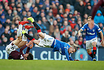 01.12.2019 Rangers v Hearts: Steven Davis fouled by Aaron Hickey