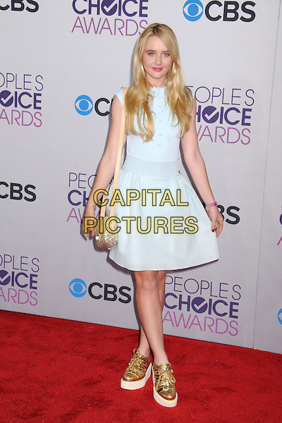 Kathryn Newton.People's Choice Awards 2013 - Arrivals held at Nokia Theatre L.A. Live, Los Angeles, California, USA..January 9th, 2013.full length dress gold sneakers trainers shoes blue sleeveless .CAP/ADM/BP.©Byron Purvis/AdMedia/Capital Pictures.