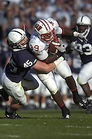 13 October 2007:  Penn State LB Sean Lee (45) tackles Wisconsin RB P.J. P. J. Hill (39).  Lee had 12 tackles, one sack, and a fumble recovery for the game.  The Penn State Nittany Lions defeated the Wisconsin Badgers 38-7 October 13, 2007 at Beaver Stadium in State College, PA..