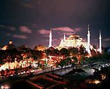 TURKEY, Istanbul, illuminated Aya Sofya Mosque at night