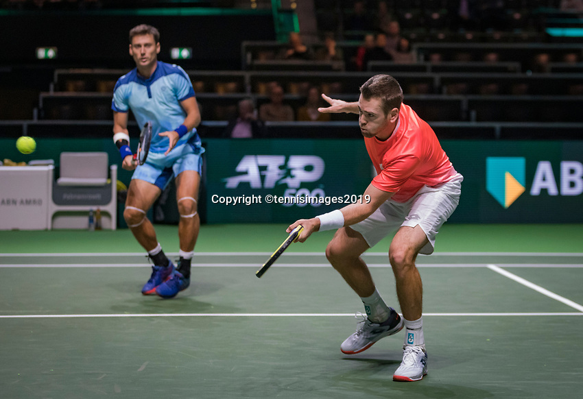 Rotterdam, The Netherlands, 11 Februari 2019, ABNAMRO World Tennis Tournament, Ahoy, first round doubles:  Austin Krajicek (USA) - Artem Sitak (NZL) (L)<br /> Photo: www.tennisimages.com/Henk Koster
