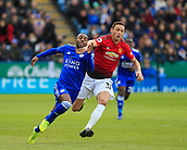 3rd February 2019, King Power Stadium, Leicester, England; EPL Premier League Football, Leicester City versus Manchester United; Nemanja Matic of Manchester United is booked for this challenge on Ricardo Pereira of Leicester City