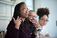 "The 23rd Robinson Jeffers Association Annual Conference hosts a panel on ""Blackness and Nature: Artists in Conversation"". Seated from left: Camille Dungy; Douglas Kearney; Zinzi Clemmons. February 24, 2017 in Morrison Lounge of JSC.<br /> This conversation, between author Camille Dungy and special guest poets Douglas Kearney and Zinzi Clemmons, Assistant Professor, English, treats Blackness as an entry-way to rethinking nature and its relationship to poetry.<br /> This year's Conference theme is ""Robinson Jeffers and the Modern Metropolis: Los Angeles and Beyond.""<br /> Sponsored by the Robinson Jeffers Association, Oxy Arts, English, Writing and Rhetoric Department including Interdisciplinary Writing, and Library Special Collections & College Archives with support of the Remsen Bird Fund, The Andrew W. Mellon Foundation Arts & Urban Experience Grant.<br /> (Photo by Marc Campos, Occidental College Photographer)"