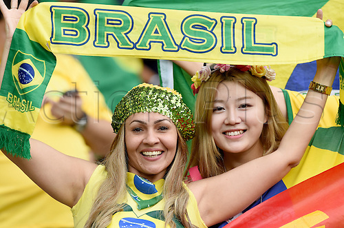 08.07.2014. Estadio Mineirao, Belo Horizonte, Brazil.  Brazilian supporters in the stands prior to the FIFA World Cup 2014 semi-final soccer match between Brazil and Germany at Estadio Mineirao in Belo Horizonte, Brazil, 08 July 2014.