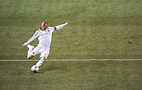 LA Galaxy midfielder and Captain David Beckham (23) sends a ball during the Super Clasico MLS match. The LA Galaxy defeated Chivas USA 5-2 during the SuperClasico at the Home Depot Center Stadium, in Carson, California, Saturday, April 26, 2008.