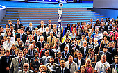 Members of the New York delegation pose for the official group photo at the 2016 Democratic National Convention held at the Wells Fargo Center in Philadelphia, Pennsylvania on Saturday, July 23, 2016.<br /> Credit: Ron Sachs / CNP<br /> (RESTRICTION: NO New York or New Jersey Newspapers or newspapers within a 75 mile radius of New York City)