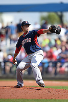 Boston Red Sox pitcher Junichi Tazawa (36) during a spring training game against the Tampa Bay Rays on March 25, 2014 at Charlotte Sports Park in Port Charlotte, Florida.  Boston defeated Tampa Bay 4-2.  (Mike Janes/Four Seam Images)