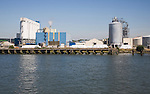 Bulk cargo silos for Kitty Friend cat-litter manufacturing, Port of Rotterdam, Netherlands