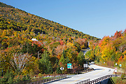 Route 18, near Cannon Mountain, in Franconia, New Hampshire USA during the autumn months.