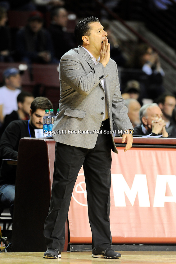 January 26, 2014 - Amherst, Massachusetts, U.S. - Fordham Rams head coach Tom Pecora court side at the NCAA basketball game between the Fordham Rams and the Massachusetts Minutemen held at  the Mullin Center in Amherst Massachusetts. Final score Massachusetts 90 Fordham 52  Eric Canha/CSM