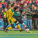 15 November 2015: Binghamton University Bearcat Backfielder Zach Galluzzo, a Junior from Ronkonkoma, NY, battles against University of Vermont Catamount Midfielder Charlie DeFeo, a Senior from Newfields, NH, at Virtue Field in Burlington, Vermont. The Bearcats fell to the Catamounts 1-0 in the America East Championship Game. Mandatory Credit: Ed Wolfstein Photo *** RAW (NEF) Image File Available ***