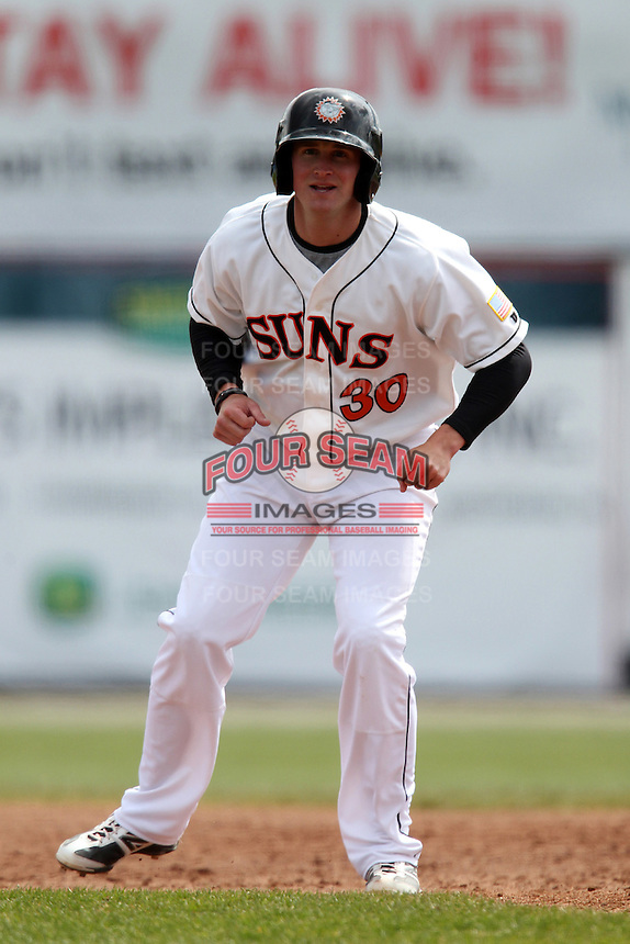 Hagerstown Suns first baseman Brett Newsome #30 leads off first during a game against the Lexington Legends at Municipal Park on April 11, 2012 in Hagerstown, Maryland.  Lexington defeated Hagerstown 3-0.  (Mike Janes/Four Seam Images)