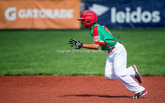 ABERDEEN, MD - AUGUST 02: Angel Iracheta #11 of Mexico runs to second base in a game between Australia and Mexico during the Cal Ripken World Series at The Ripken Experience Powered by Under Armour on August 2, 2016 in Aberdeen, Maryland. (Photo by Ripken Baseball/Eclipse Sportswire/Getty Images)