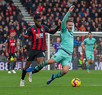 Arsenal's Shkodran Mustafi (right) is brought down by Bournemouth's Jefferson Lerma's tackle (left) <br /> <br /> Bournemouth's Jefferson Lerma tackled by <br /> Photographer David Horton/CameraSport<br /> <br /> The Premier League - Bournemouth v Arsenal - Sunday 25th November 2018 - Vitality Stadium - Bournemouth<br /> <br /> World Copyright &copy; 2018 CameraSport. All rights reserved. 43 Linden Ave. Countesthorpe. Leicester. England. LE8 5PG - Tel: +44 (0) 116 277 4147 - admin@camerasport.com - www.camerasport.com