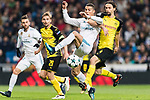Cristiano Ronaldo of Real Madrid (L) fights for the ball with Borussia Dortmund Defender Neven Subotic (R) during the Europe Champions League 2017-18 match between Real Madrid and Borussia Dortmund at Santiago Bernabeu Stadium on 06 December 2017 in Madrid Spain. Photo by Diego Gonzalez / Power Sport Images