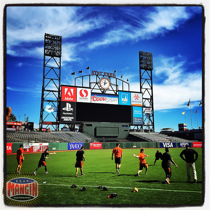 SAN FRANCISCO, CA - OCTOBER 7: Instagram of the San Francisco Giants stretching on the field before Game 4 of the NLDS against the Washington Nationals at AT&T Park on October 7, 2014 in San Francisco, California. Photo by Brad Mangin