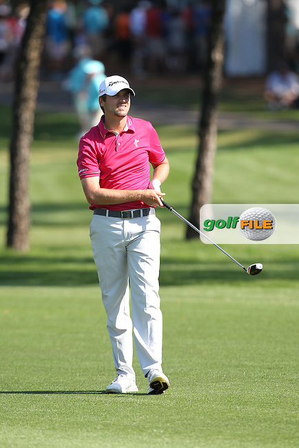 Sean O'Hair of the USA plays his second shot on the 14th fairway during the 3rd round of the Valspar Championship, Innisbrook Resort (Copperhead), Palm Harbor, Florida, USA<br /> Picture: Peter Mulhy / Golffile