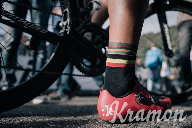 Philippe Gilbert (BEL/Quick Step floors) post-finish: world champ tattoo + belgian champ socks...<br /> <br /> Il Lombardia 2017<br /> Bergamo to Como (ITA) 247km