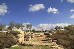 Israel, Shephelah, the western gate of Khirbet Qeiyafa, one of the two gates of the Iron Age settlement from the 11th century BC