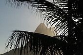 Rio de Janeiro, Brazil. Leblon beach. Two brothers mountain and palm leaves.