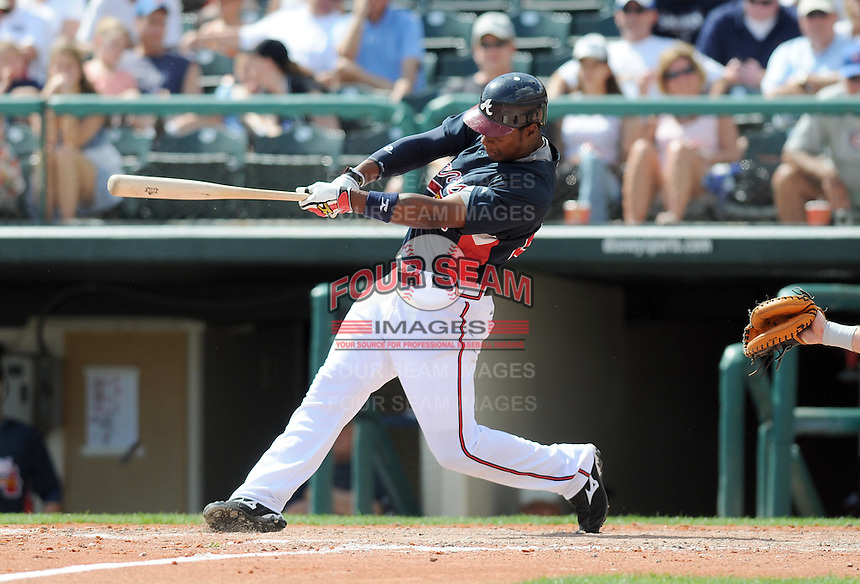 15 March 2009: Outfielder Brandon Jones (28) of the Atlanta Braves hits in a game against the Houston Astros at the Braves' Spring Training camp at Disney's Wide World of Sports in Lake Buena Vista, Fla. Photo by:  Tom Priddy/Four Seam Images