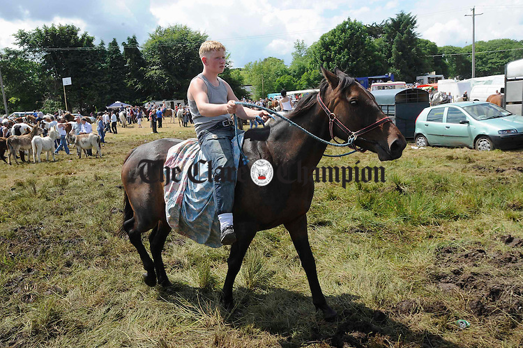 Riding without a saddle at Spancilhill Fair. Photograph by John Kelly.
