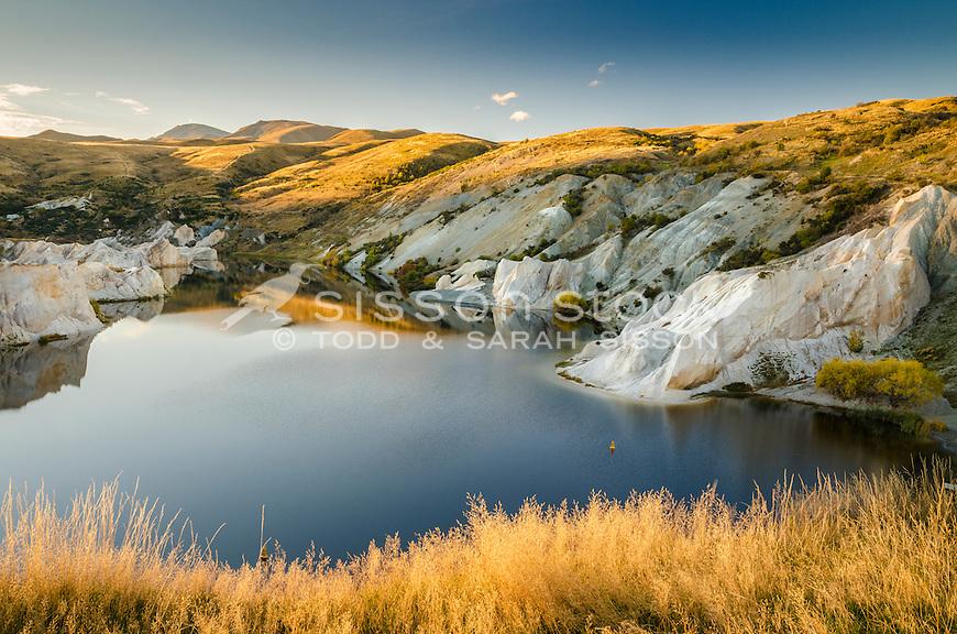 Evening, Blue Lake, St Bathans, Central Otago, New Zealand - stock photo, canvas, fine art print