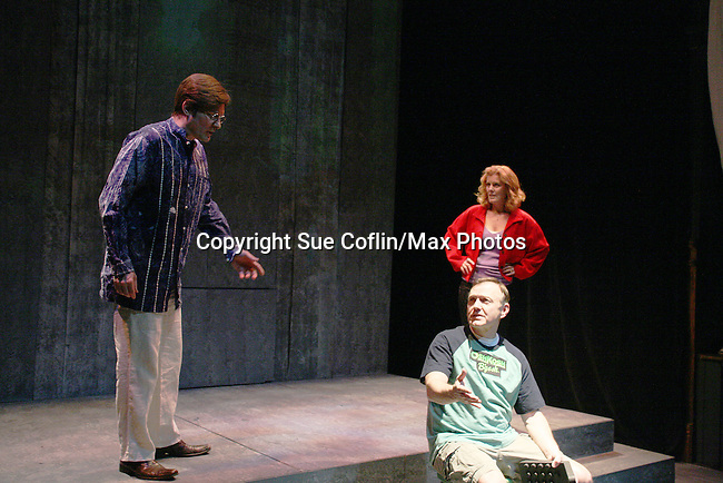 Jonathan Kruk, Hugh Scully & Liz Keifer star in The Return of the Incredible Shrinking Man at the Philipstown Depot Theatre, Philipstown, New York on March 6, 2010. (Photo by Sue Coflin/Max Photos)