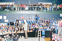 "Campaign volunteers hold up large letters spelling ""Hillary"" as former president Bill Clinton speaks before former Secretary of State and Democratic presidential candidate Hillary Rodham Clinton speaks at a rally at Nashua Community College in Nashua, New Hampshire, on Tues. Feb. 2, 2016. Former president Bill Clinton also spoke at the event. The day before, Hillary Clinton won the Iowa caucus by a small margin over Bernie Sanders."
