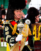 Gordon Highlander Drum Major at Aboyne Highland Games, Royal Deeside,Scotland.<br />