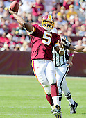 Washington Redskins quarterback Donovan McNabb (5) releases a pass in fourth quarter action against the Green Bay Packers at FedEx Field in Landover, Maryland on Sunday, October 10, 2010.  The Redskins won the game in overtime 16 - 13..Credit: Ron Sachs / CNP
