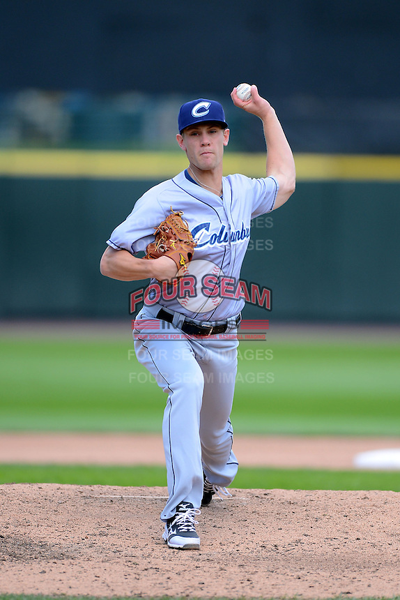 Columbus Clippers relief pitcher Scott Barnes #30 during a game against the Rochester Red Wings on May 12, 2013 at Frontier Field in Rochester, New York.  Rochester defeated Columbus 5-4.  (Mike Janes/Four Seam Images)
