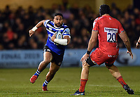 Cooper Vuna of Bath Rugby in possession. Gallagher Premiership match, between Bath Rugby and Sale Sharks on December 2, 2018 at the Recreation Ground in Bath, England. Photo by: Patrick Khachfe / Onside Images