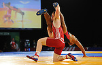 Wales Tommy Hawthorn in action against Dipu Ray<br /> <br /> Photographer Ian Cook/Sportingwales<br /> <br /> 20th Commonwealth Games -Wrestling -  Day 6 - Tuesday 29th July 2014 - Glasgow - UK