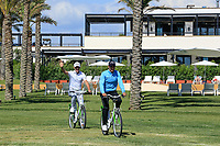 Matteo Manassero (ITA) and Jason Scrivener (AUS) ride bicycles on the resort during the previews ahead of the Rocco Forte Sicilian Open played at Verdura Resort, Agrigento, Sicily, Italy 08/05/2018.<br /> Picture: Golffile | Phil Inglis<br /> <br /> <br /> All photo usage must carry mandatory copyright credit (&copy; Golffile | Phil Inglis)
