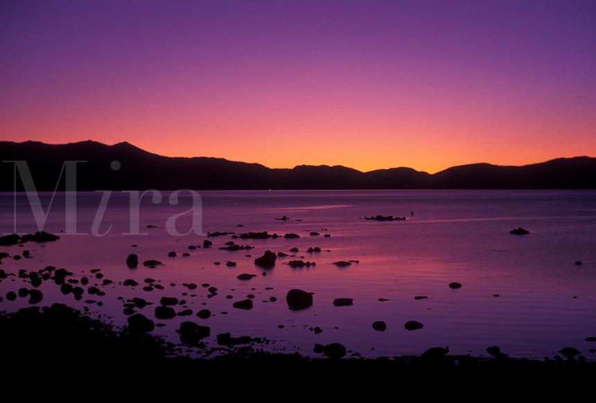 AJ3791, Lake Tahoe, lake, Sierra Nevada Mountain Range, Nevada, California, Emerald Bay at sunset on Lake Tahoe in the state of Nevada.