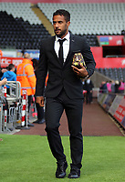 Wayne Routledge of Swansea City arrives prior to the game during the Premier League match between Swansea City and Watford at The Liberty Stadium, Swansea, Wales, UK. Saturday 23 September 2017