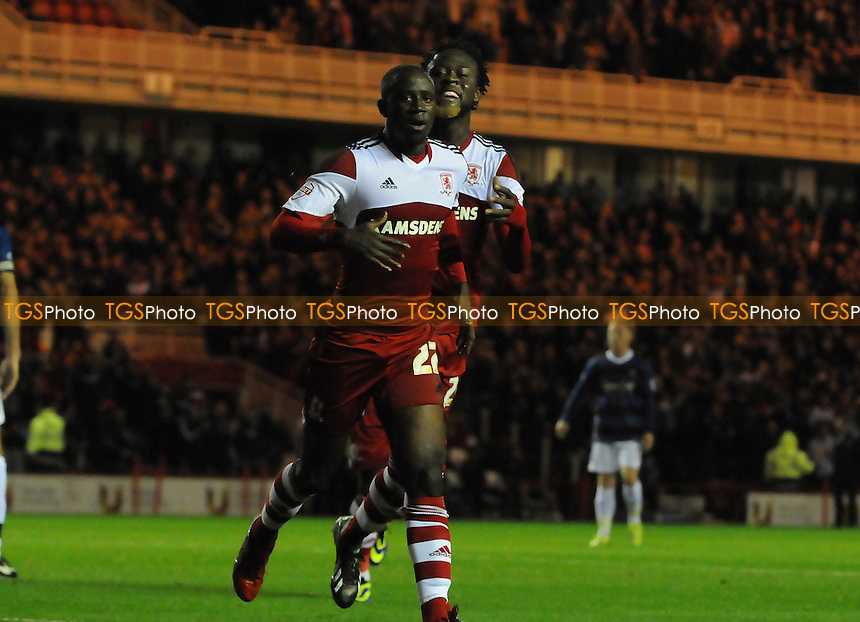 Albert Adomah of Middlesbrough celebrates scoring his second - Middlesbrough vs Doncaster Rovers - Sky Bet Championship Football at the Riverside Stadium, Middlesbrough - 25/10/13 - MANDATORY CREDIT: Steven White/TGSPHOTO - Self billing applies where appropriate - 0845 094 6026 - contact@tgsphoto.co.uk - NO UNPAID USE