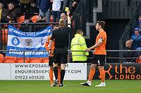 Cheye Alexander receives the yellow card during Barnet vs Stockport County, Emirates FA Cup Football at the Hive Stadium on 2nd December 2018